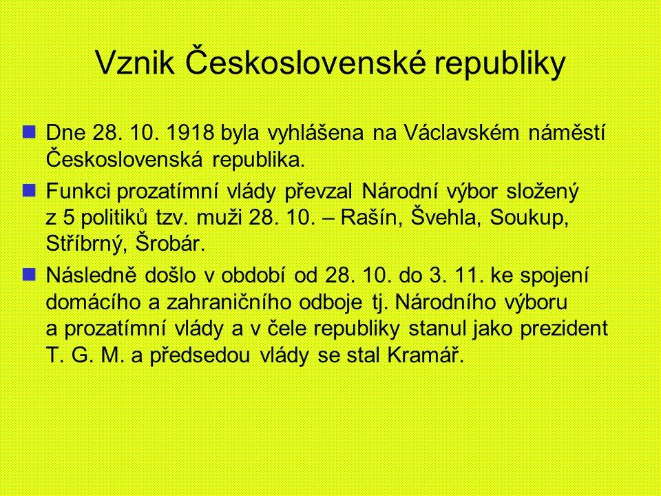 Vznik Československé republiky Dne 28. 10. 1918 byla vyhlášena na Václavském náměstí Československá republika. Funkci prozatímní vlády převzal Národní