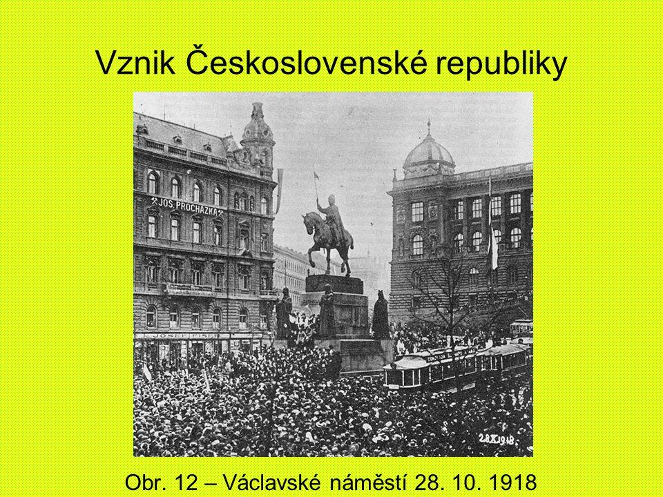 Vznik Československé republiky Obr. 12 – Václavské náměstí 28. 10. 1918