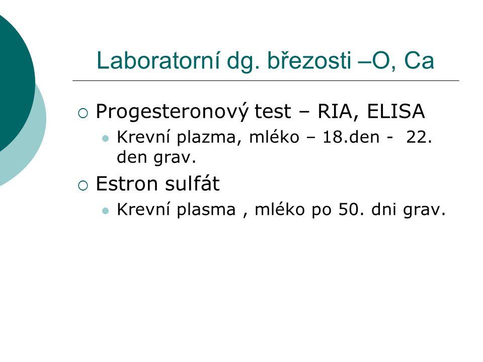 Laboratorní dg. březosti –O, Ca  Progesteronový test – RIA, ELISA Krevní plazma, mléko – 18.den - 22. den grav.  Estron sulfát Krevní plasma, mléko