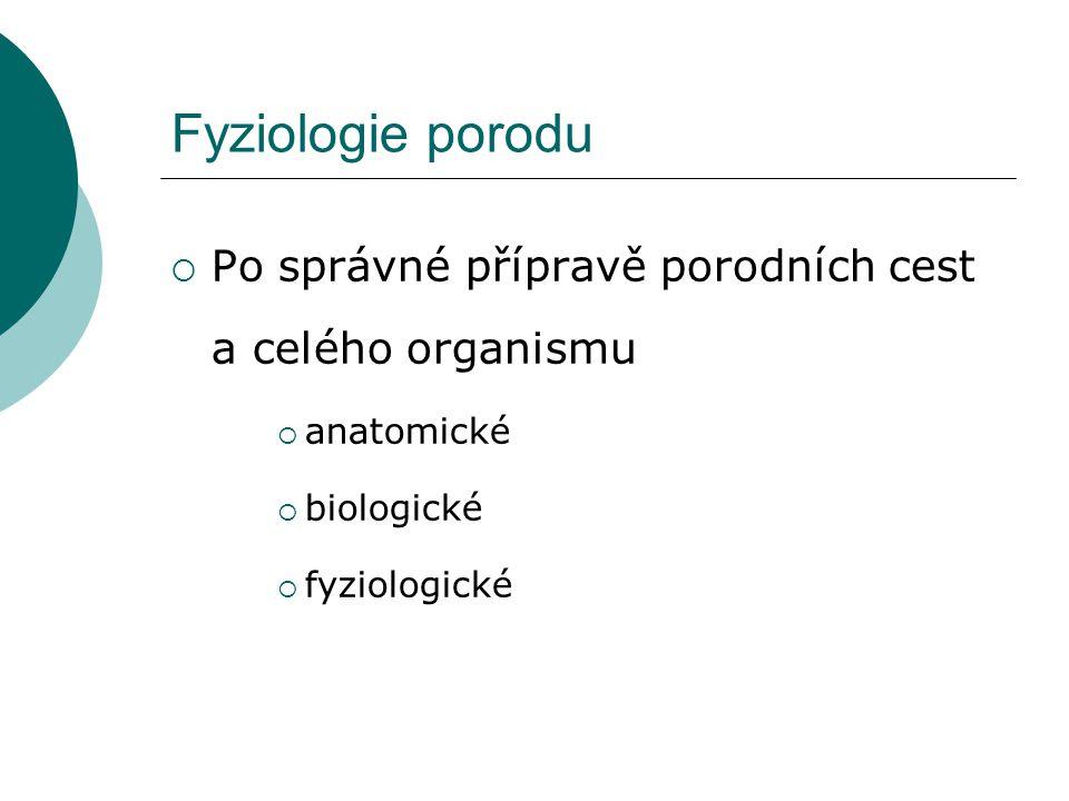 Fyziologie porodu  Po správné přípravě porodních cest a celého organismu  anatomické  biologické  fyziologické