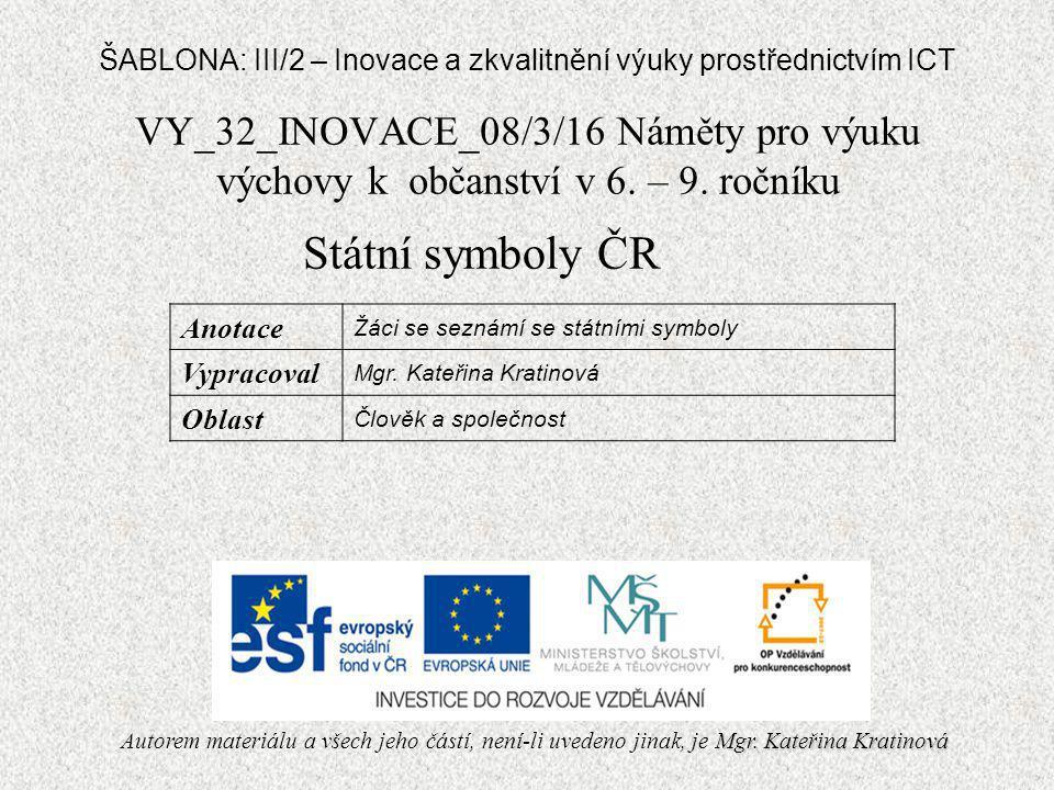 VY_32_INOVACE_08/3/16 Náměty pro výuku výchovy k občanství v 6.