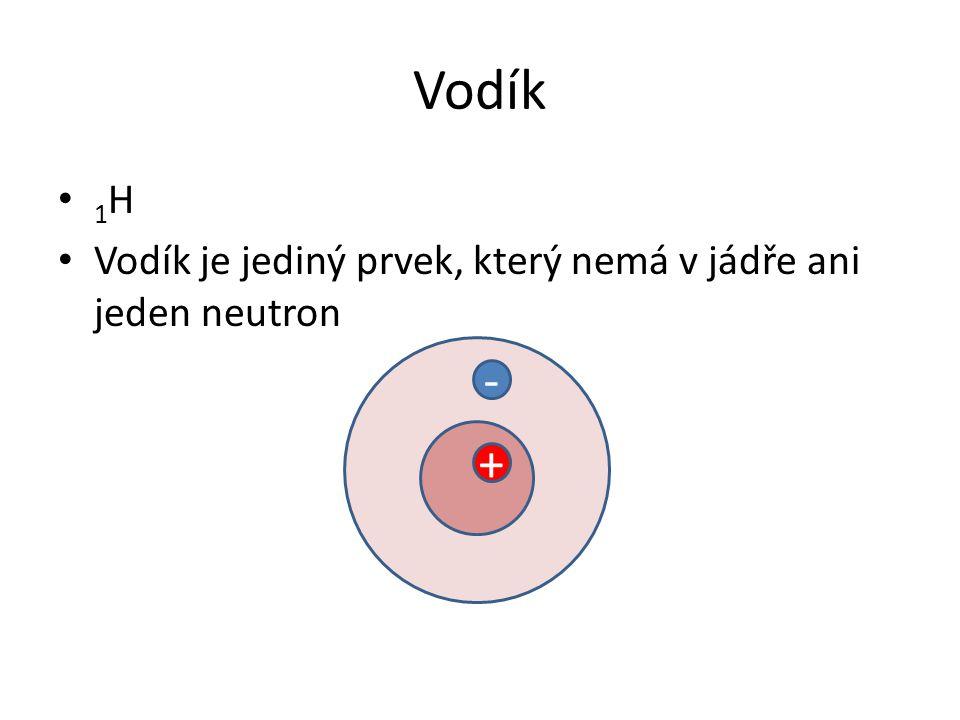 Vodík 1 H Vodík je jediný prvek, který nemá v jádře ani jeden neutron - +