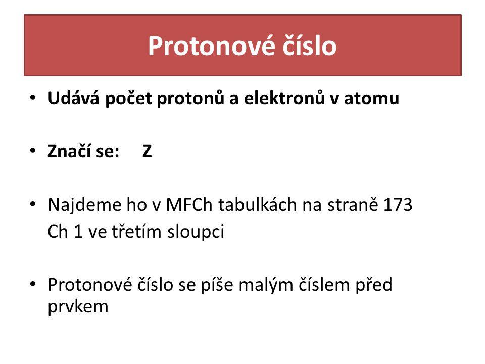 Protonové číslo Udává počet protonů a elektronů v atomu Značí se: Z Najdeme ho v MFCh tabulkách na straně 173 Ch 1 ve třetím sloupci Protonové číslo se píše malým číslem před prvkem