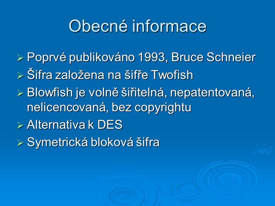 Obecné informace  Poprvé publikováno 1993, Bruce Schneier  Šifra založena na šifře Twofish  Blowfish je volně šiřitelná, nepatentovaná, nelicencova