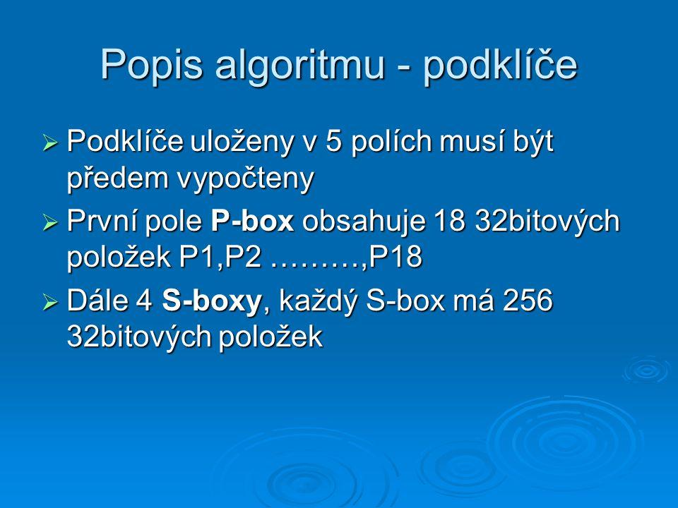 Popis algoritmu - šifrování  Šifrování probíhá v 16-ti rundách  for i = 1 to 16 do begin xL = xL XOR Pi xR = F(xL) XOR xR swap xL, xR {provede záměnu obou parametrů} end;