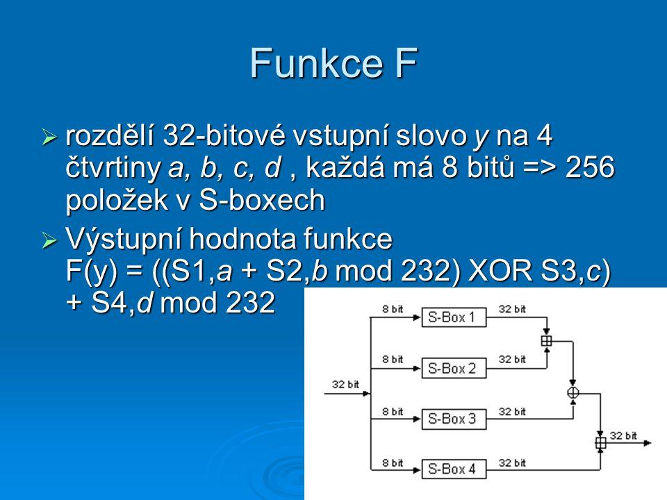 Funkce F  rozdělí 32-bitové vstupní slovo y na 4 čtvrtiny a, b, c, d, každá má 8 bitů => 256 položek v S-boxech  Výstupní hodnota funkce F(y) = ((S1