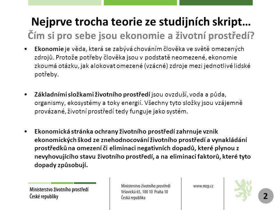 Nejprve trocha teorie ze studijních skript… Čím si pro sebe jsou ekonomie a životní prostředí.