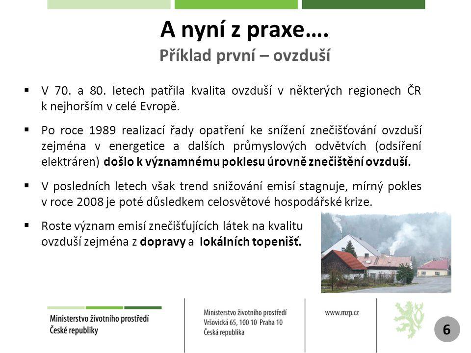 Ilustrativní trend emisí vybraných znečišťujících látek v ČR Zdroj: ČHMÚ 7 SO2: oxidy síry (emise síry) Nox: oxidy dusíku (emise dusíku) CO: oxid uhelnatý (emise uhlíku)