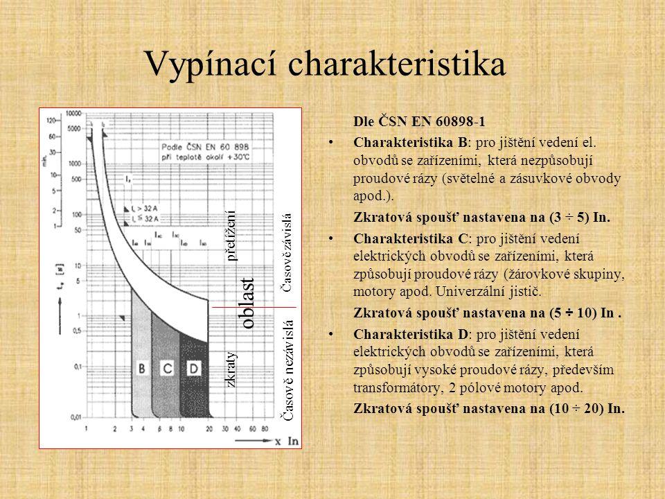 Vypínací charakteristika Dle ČSN EN 60898-1 Charakteristika B: pro jištění vedení el. obvodů se zařízeními, která nezpůsobují proudové rázy (světelné