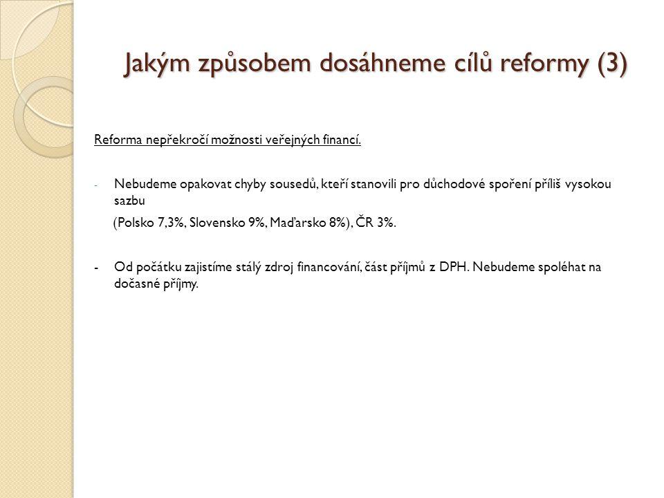 Jakým způsobem dosáhneme cílů reformy (3) Reforma nepřekročí možnosti veřejných financí.