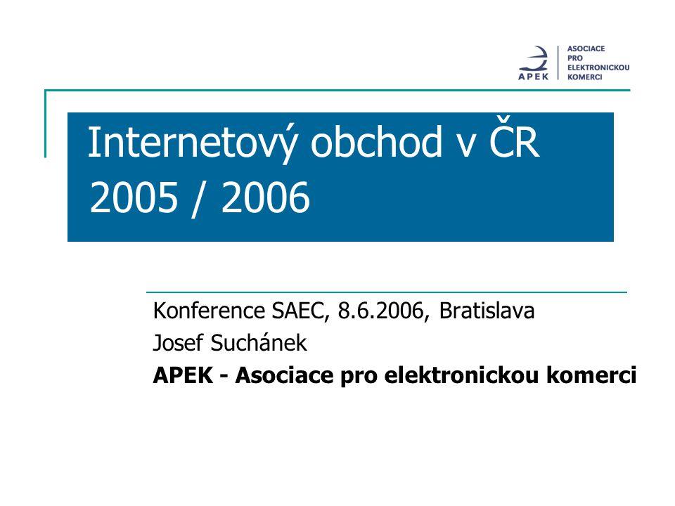 Internetový obchod v ČR 2005 / 2006 Konference SAEC, 8.6.2006, Bratislava Josef Suchánek APEK - Asociace pro elektronickou komerci