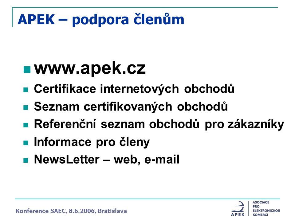 APEK – podpora členům www.apek.cz Certifikace internetových obchodů Seznam certifikovaných obchodů Referenční seznam obchodů pro zákazníky Informace pro členy NewsLetter – web, e-mail Konference SAEC, 8.6.2006, Bratislava