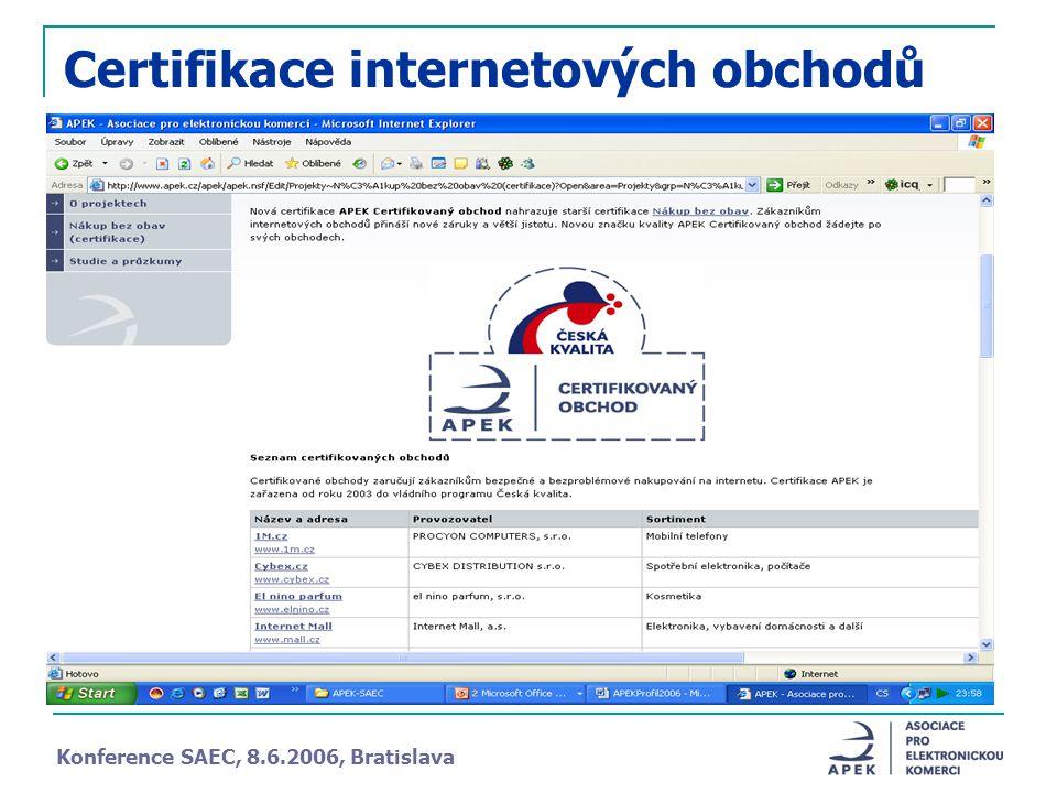 Certifikace internetových obchodů Konference SAEC, 8.6.2006, Bratislava