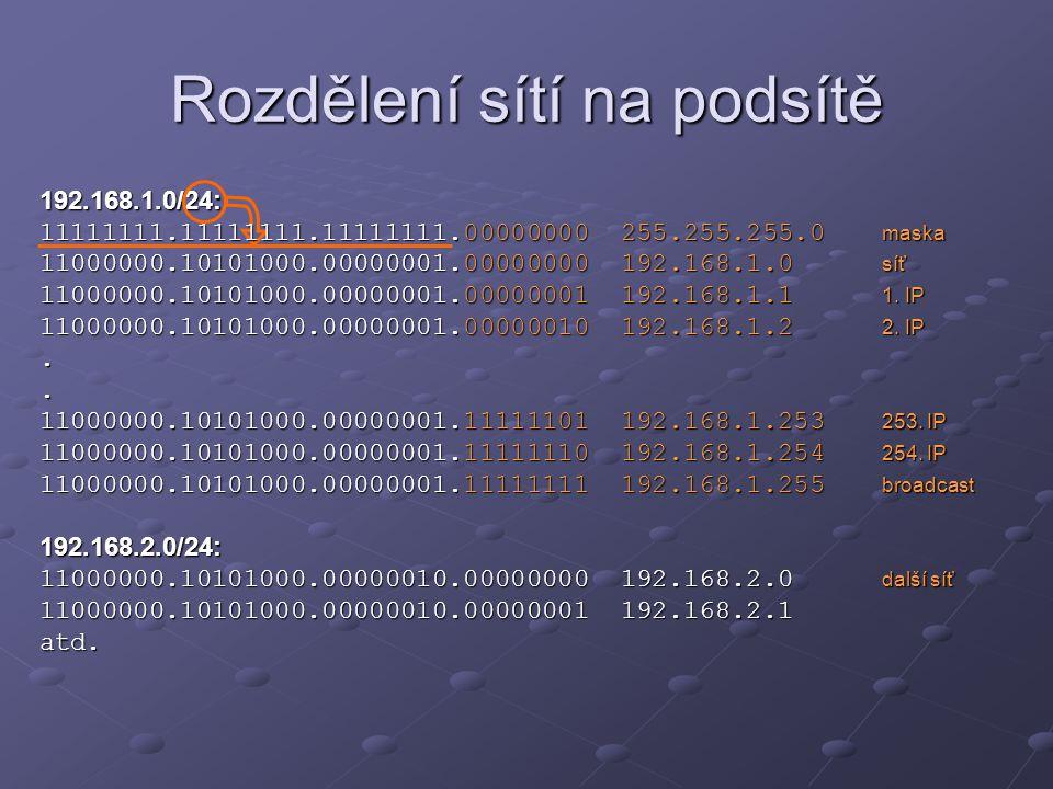 Rozdělení sítí na podsítě 192.168.1.0/24: 11111111.11111111.11111111.00000000 255.255.255.0 maska 11000000.10101000.00000001.00000000 192.168.1.0 síť
