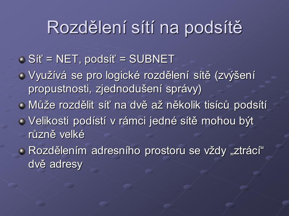 Rozdělení sítí na podsítě Síť = NET, podsíť = SUBNET Využívá se pro logické rozdělení sítě (zvýšení propustnosti, zjednodušení správy) Může rozdělit s