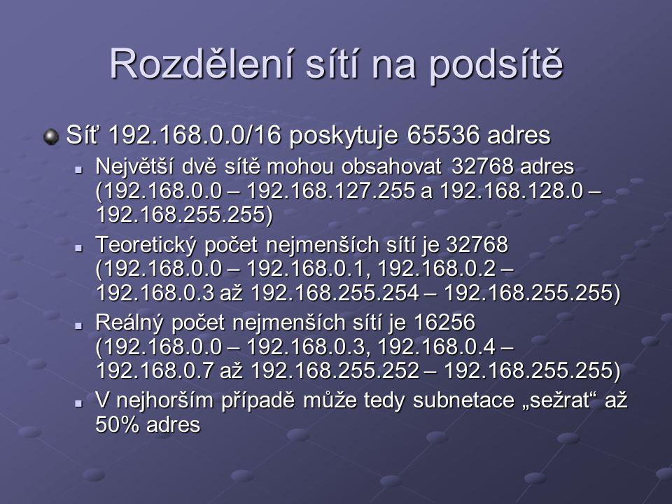 Rozdělení sítí na podsítě Síť 192.168.0.0/16 poskytuje 65536 adres Největší dvě sítě mohou obsahovat 32768 adres (192.168.0.0 – 192.168.127.255 a 192.