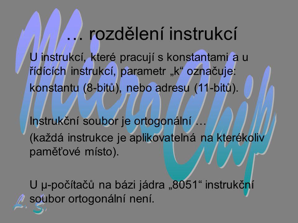 """… rozdělení instrukcí U instrukcí, které pracují s konstantami a u řídících instrukcí, parametr """"k označuje: konstantu (8-bitů), nebo adresu (11-bitů)."""