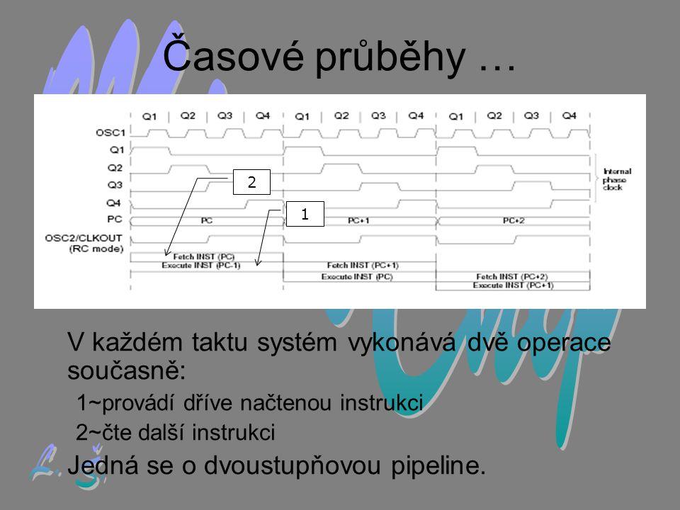 Časové průběhy … V každém taktu systém vykonává dvě operace současně: 1~provádí dříve načtenou instrukci 2~čte další instrukci Jedná se o dvoustupňovou pipeline.