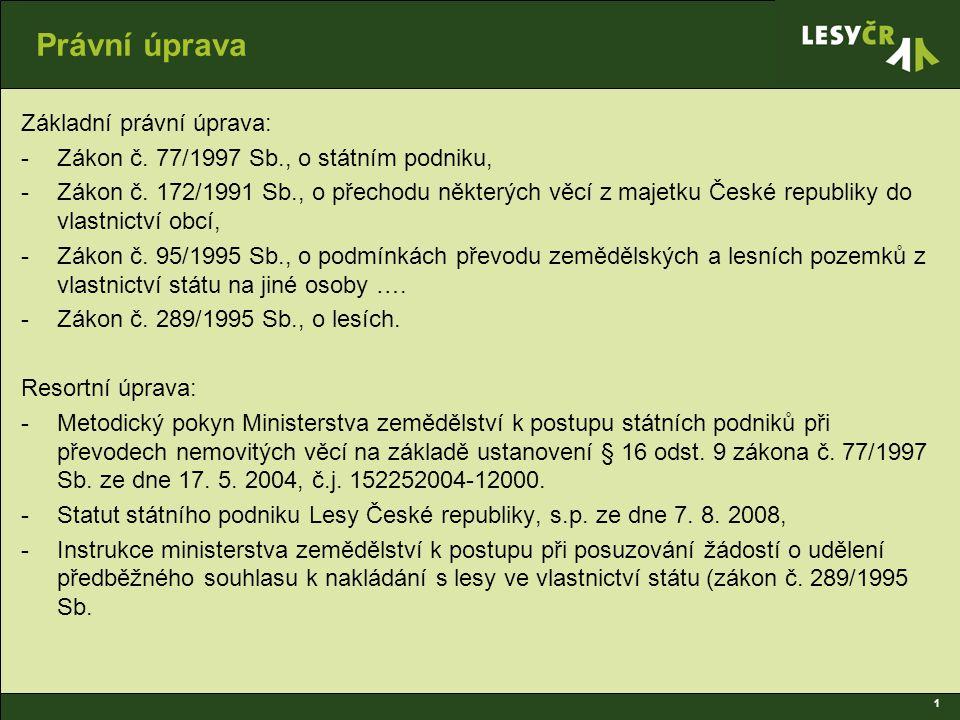 1 Právní úprava Základní právní úprava: -Zákon č.77/1997 Sb., o státním podniku, -Zákon č.