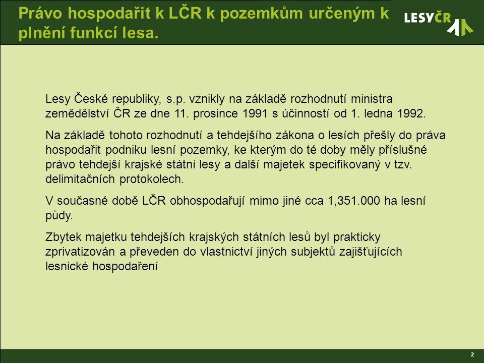 2 Právo hospodařit k LČR k pozemkům určeným k plnění funkcí lesa.