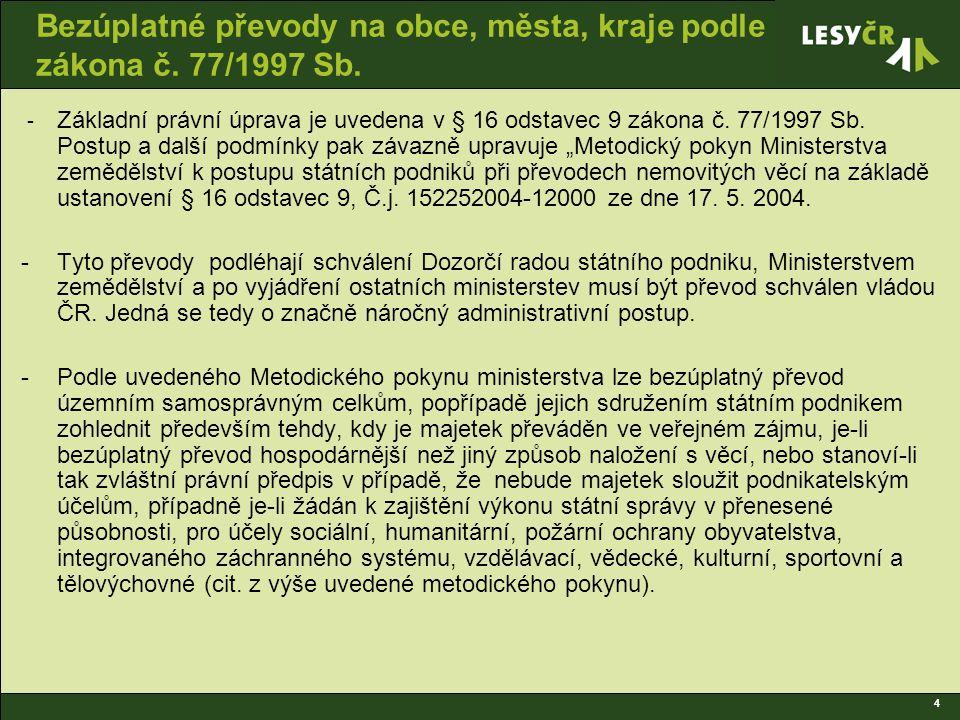 5 Bezúplatné převody na obce, města, kraje podle zákona č.