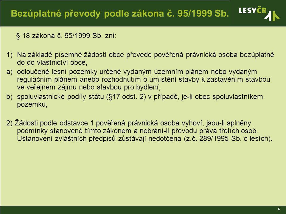 6 Bezúplatné převody podle zákona č. 95/1999 Sb. § 18 zákona č.