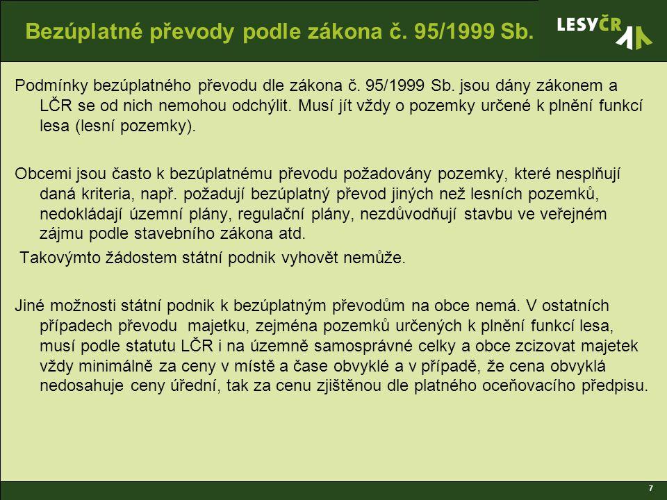 7 Bezúplatné převody podle zákona č. 95/1999 Sb. Podmínky bezúplatného převodu dle zákona č.