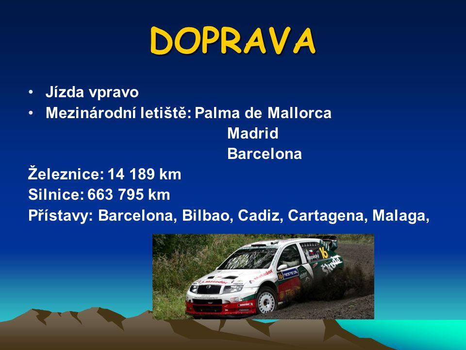 DOPRAVA Jízda vpravo Mezinárodní letiště: Palma de Mallorca Madrid Barcelona Železnice: 14 189 km Silnice: 663 795 km Přístavy: Barcelona, Bilbao, Cad