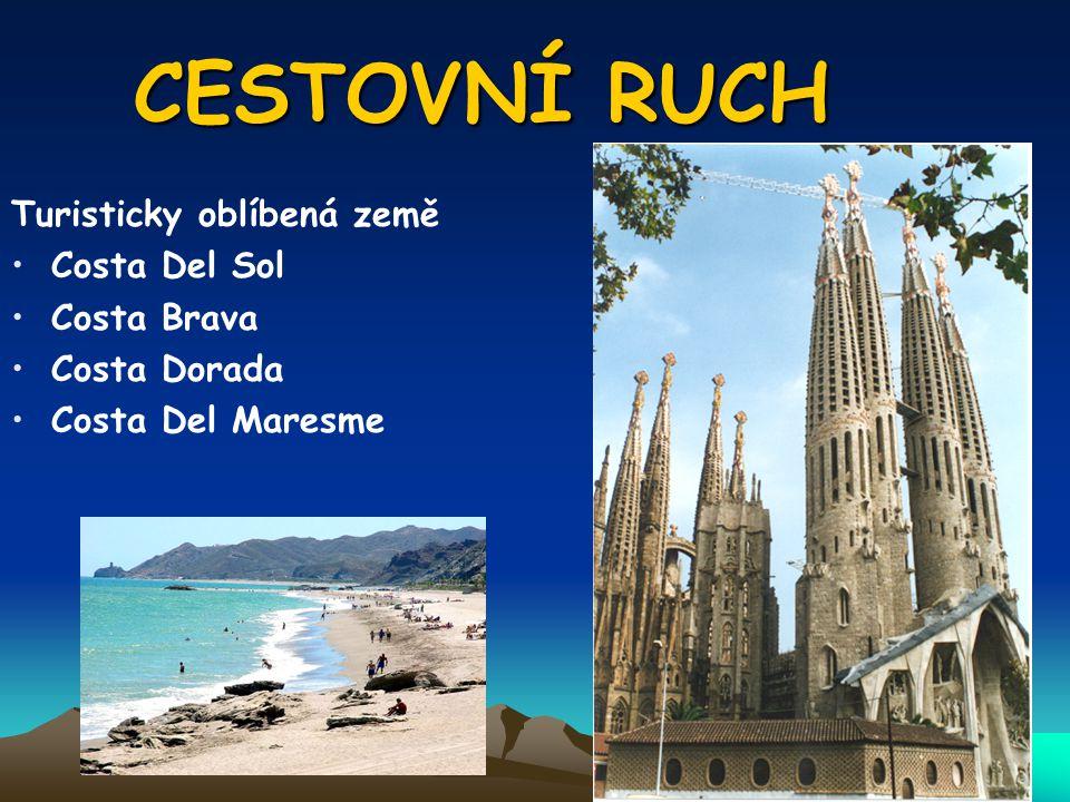 CESTOVNÍ RUCH Turisticky oblíbená země Costa Del Sol Costa Brava Costa Dorada Costa Del Maresme