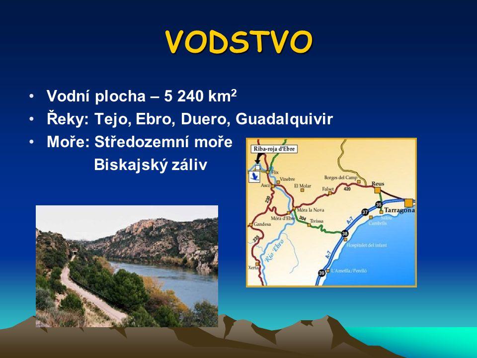 VODSTVO Vodní plocha – 5 240 km 2 Řeky: Tejo, Ebro, Duero, Guadalquivir Moře: Středozemní moře Biskajský záliv
