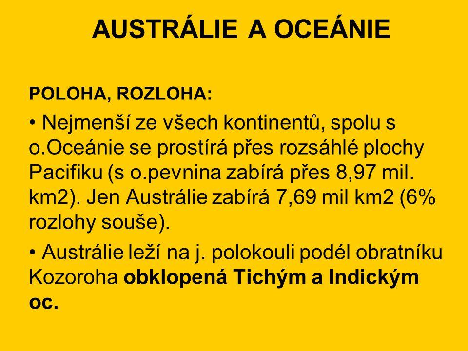 POLOHA, ROZLOHA: Nejmenší ze všech kontinentů, spolu s o.Oceánie se prostírá přes rozsáhlé plochy Pacifiku (s o.pevnina zabírá přes 8,97 mil.