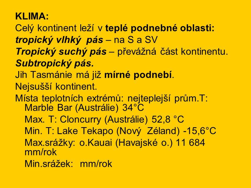 KLIMA: Celý kontinent leží v teplé podnebné oblasti: tropický vlhký pás – na S a SV Tropický suchý pás – převážná část kontinentu.