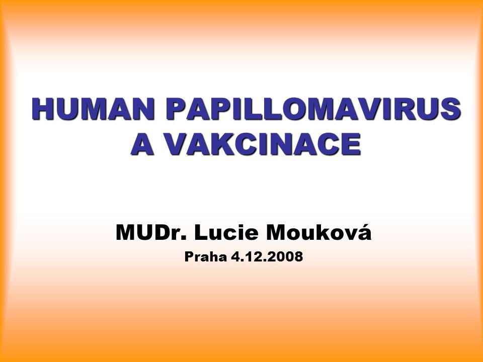 HUMAN PAPILLOMAVIRUS A VAKCINACE MUDr. Lucie Mouková Praha 4.12.2008