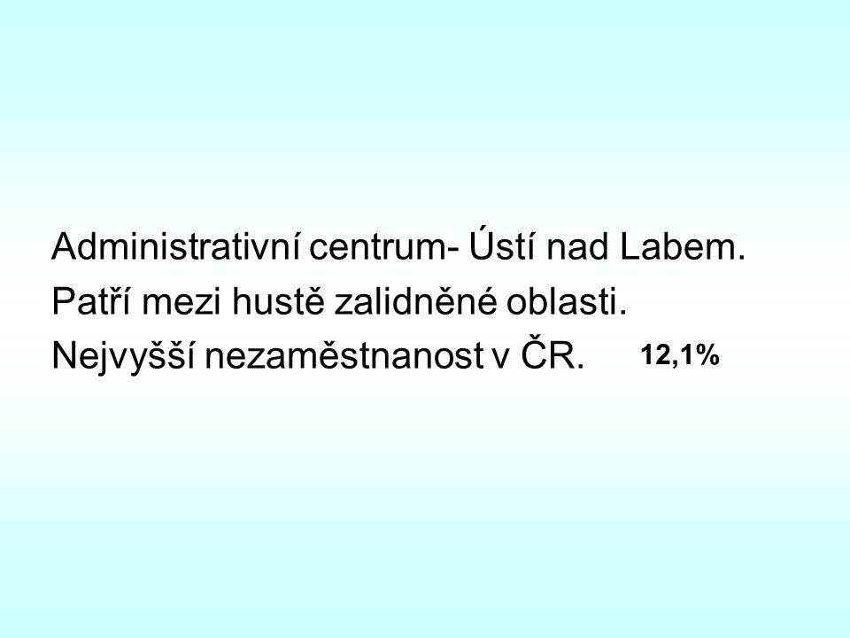 Administrativní centrum- Ústí nad Labem. Patří mezi hustě zalidněné oblasti. Nejvyšší nezaměstnanost v ČR. 12,1%