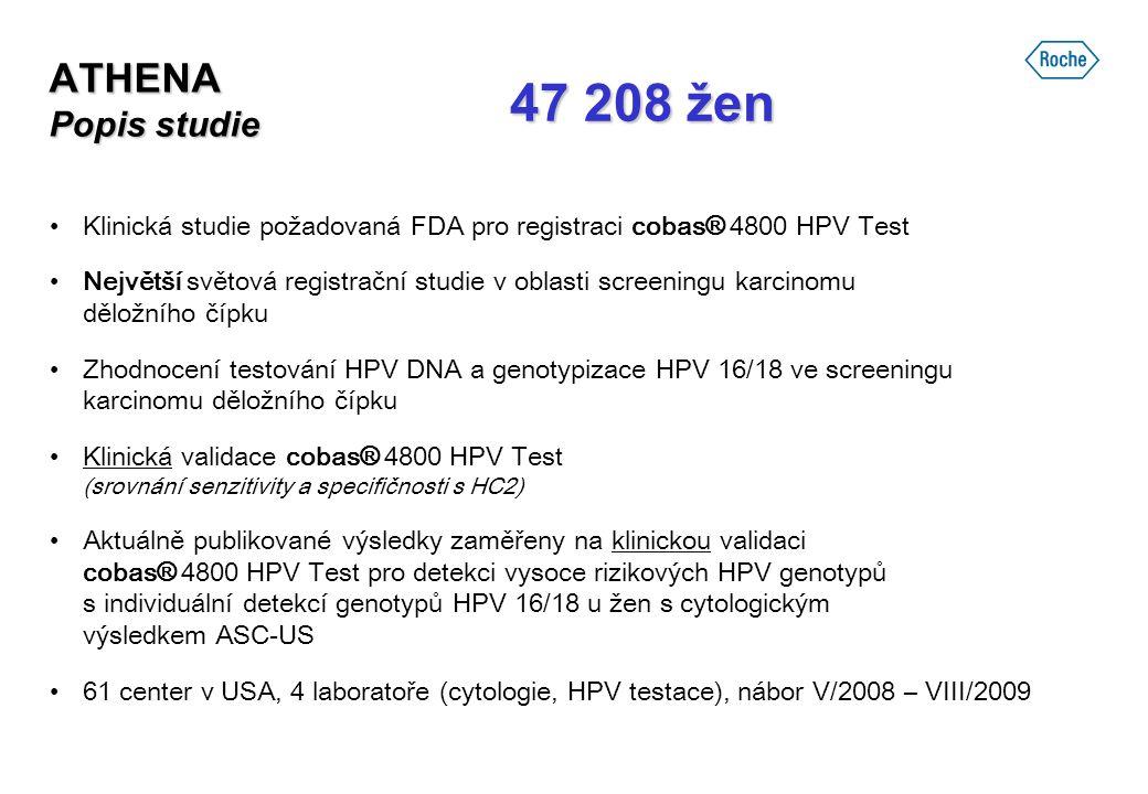 ATHENA Popis studie Klinická studie požadovaná FDA pro registraci cobas® 4800 HPV Test Největší světová registrační studie v oblasti screeningu karcin