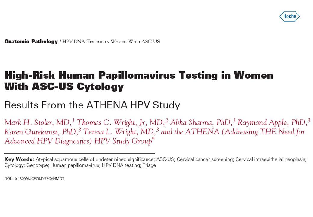47 208 žen ≥21 let zahrnuto do studie ATHENA 1 578 žen (82 % z žen s výsledkem cytologie ASC-US) s validními výsledky biopsie a HPV testace = HODNOTITELNÝ SOUBOR 1 923 žen (4,1 %) s výsledkem cytologie hodnoceným jako ASC-US 1 620 (85 %) žen s ASC-US a validním testem HPV podrobeno kolposkopii (shodný počet HPV+ a HPV-) Vytvoření hodnotitelného souboru žen s ASC-US Zdroj: Stoler MH et al.