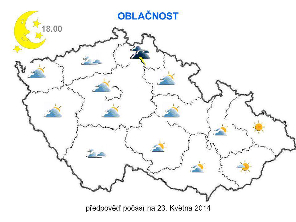 předpověď počasí na 23. Května 2014 18.00 OBLAČNOST