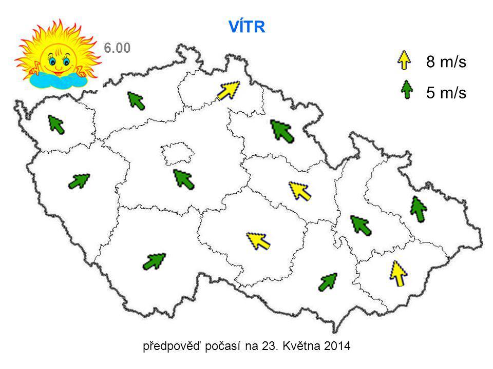 předpověď počasí na 23. Května 2014 VÍTR 8 m/s 5 m/s 6.00