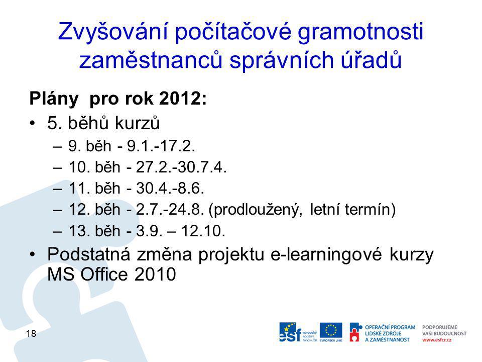 Zvyšování počítačové gramotnosti zaměstnanců správních úřadů Plány pro rok 2012: 5.