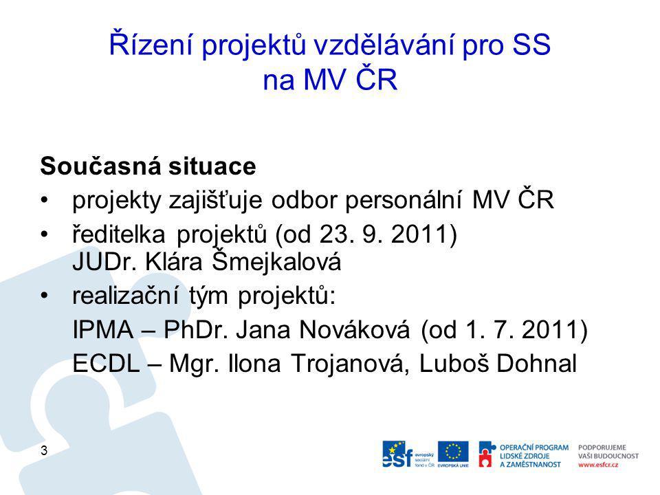 Řízení projektů vzdělávání pro SS na MV ČR Současná situace projekty zajišťuje odbor personální MV ČR ředitelka projektů (od 23.