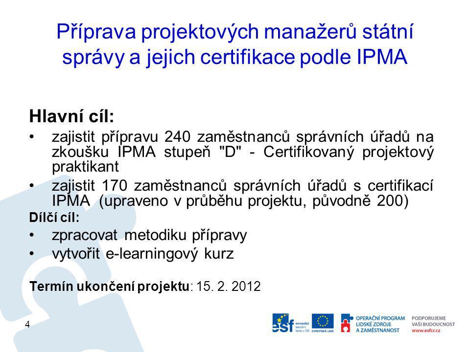 Příprava projektových manažerů státní správy a jejich certifikace podle IPMA Hlavní cíl: zajistit přípravu 240 zaměstnanců správních úřadů na zkoušku IPMA stupeň D - Certifikovaný projektový praktikant zajistit 170 zaměstnanců správních úřadů s certifikací IPMA (upraveno v průběhu projektu, původně 200) Dílčí cíl: zpracovat metodiku přípravy vytvořit e-learningový kurz Termín ukončení projektu: 15.
