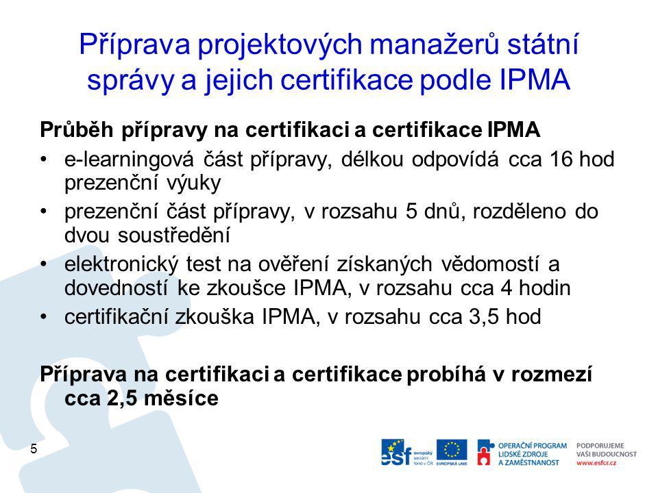 Příprava projektových manažerů státní správy a jejich certifikace podle IPMA Průběh přípravy na certifikaci a certifikace IPMA e-learningová část přípravy, délkou odpovídá cca 16 hod prezenční výuky prezenční část přípravy, v rozsahu 5 dnů, rozděleno do dvou soustředění elektronický test na ověření získaných vědomostí a dovedností ke zkoušce IPMA, v rozsahu cca 4 hodin certifikační zkouška IPMA, v rozsahu cca 3,5 hod Příprava na certifikaci a certifikace probíhá v rozmezí cca 2,5 měsíce 5
