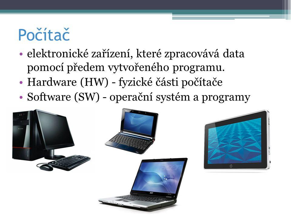 Počítač elektronické zařízení, které zpracovává data pomocí předem vytvořeného programu. Hardware (HW) - fyzické části počítače Software (SW) - operač