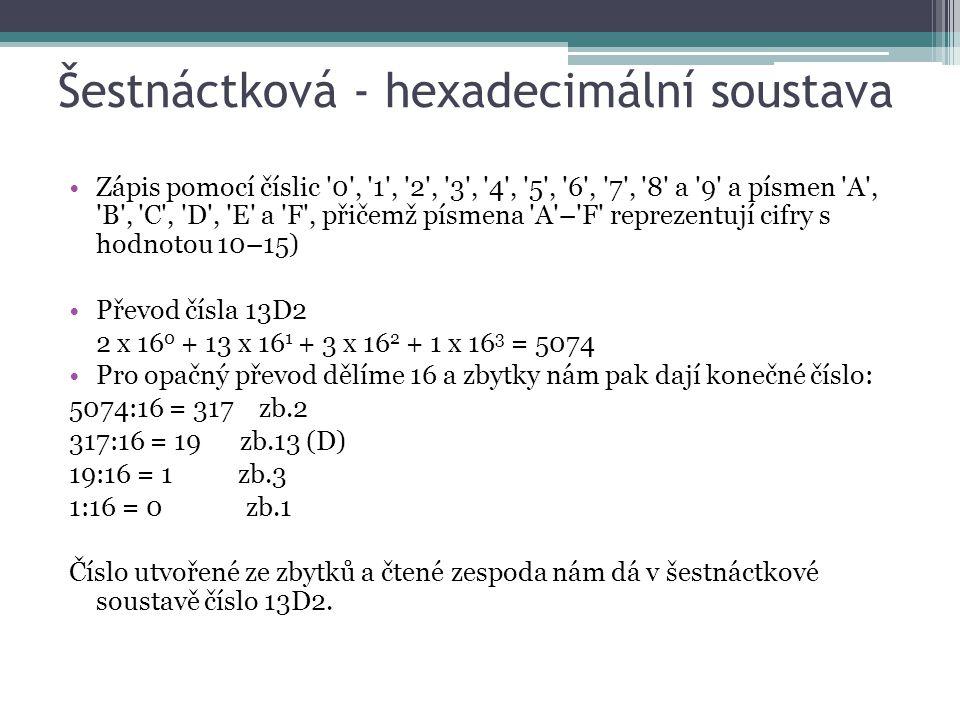 Šestnáctková - hexadecimální soustava Zápis pomocí číslic '0', '1', '2', '3', '4', '5', '6', '7', '8' a '9' a písmen 'A', 'B', 'C', 'D', 'E' a 'F', př
