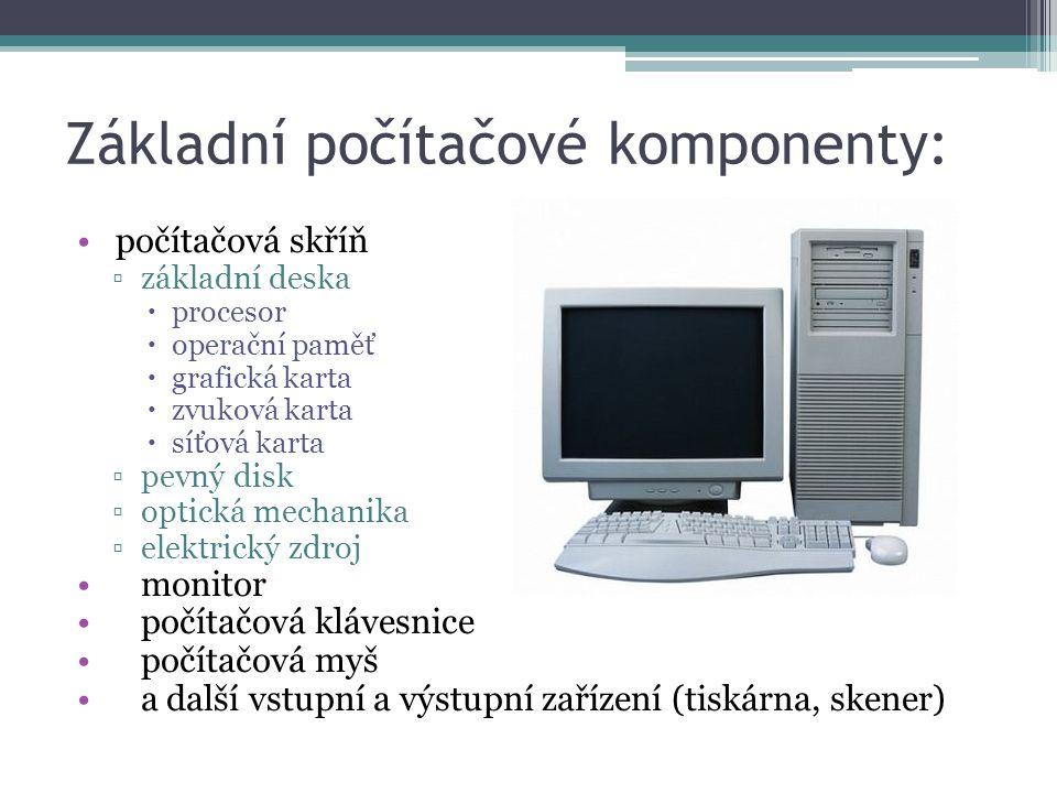 Základní počítačové komponenty: počítačová skříň ▫základní deska  procesor  operační paměť  grafická karta  zvuková karta  síťová karta ▫pevný di