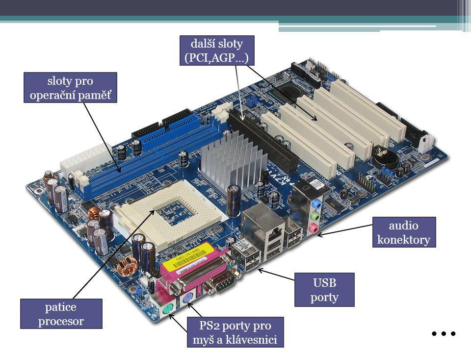 PS2 porty pro myš a klávesnici další sloty (PCI,AGP…) sloty pro operační paměť patice procesor audio konektory USB porty …