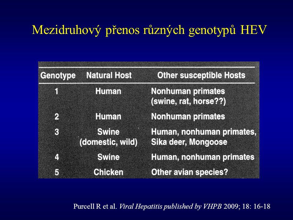 Mezidruhový přenos různých genotypů HEV Purcell R et al. Viral Hepatitis published by VHPB 2009; 18: 16-18