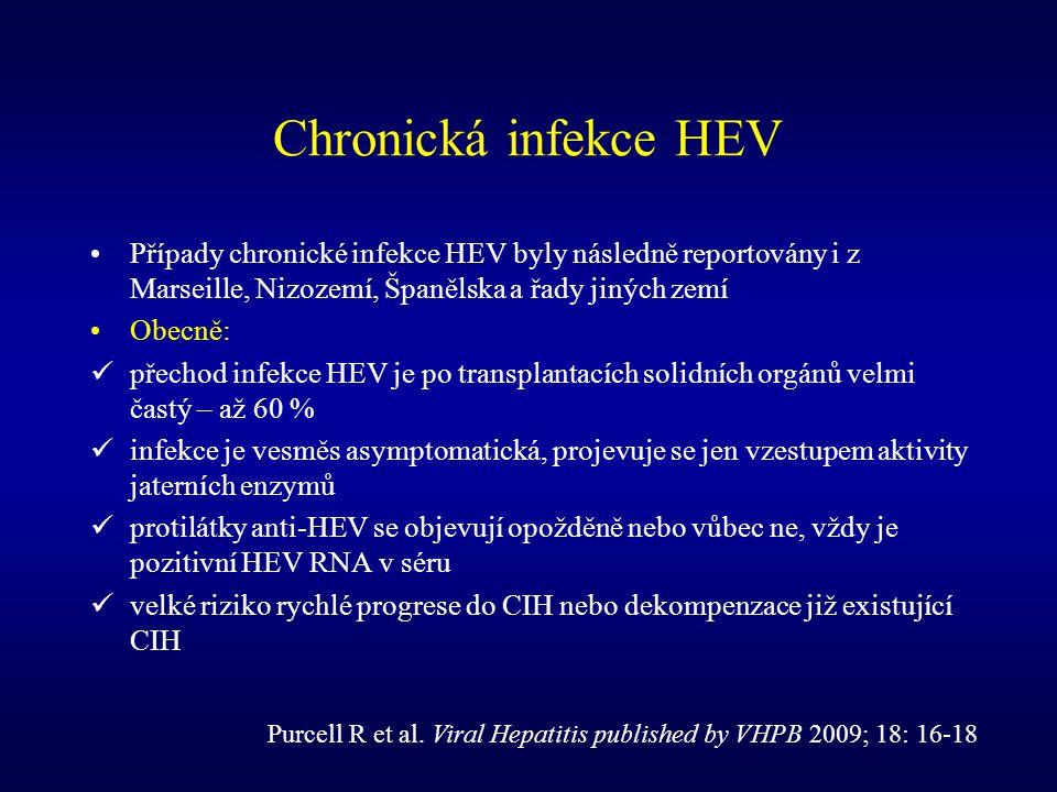 Chronická infekce HEV Případy chronické infekce HEV byly následně reportovány i z Marseille, Nizozemí, Španělska a řady jiných zemí Obecně: přechod in