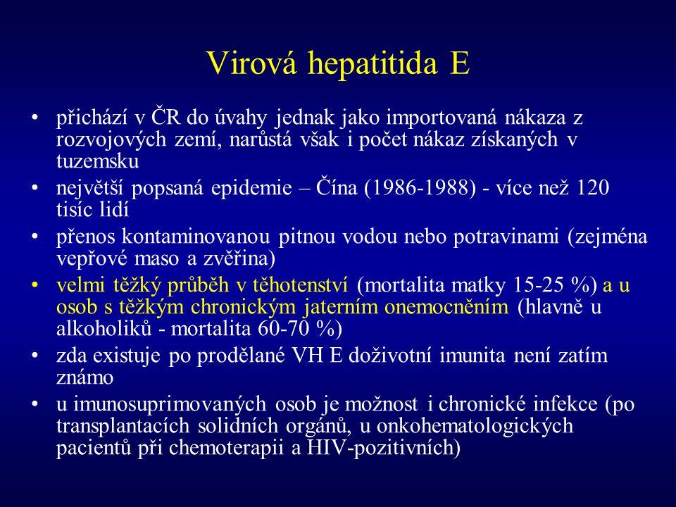 Virová hepatitida E přichází v ČR do úvahy jednak jako importovaná nákaza z rozvojových zemí, narůstá však i počet nákaz získaných v tuzemsku největší