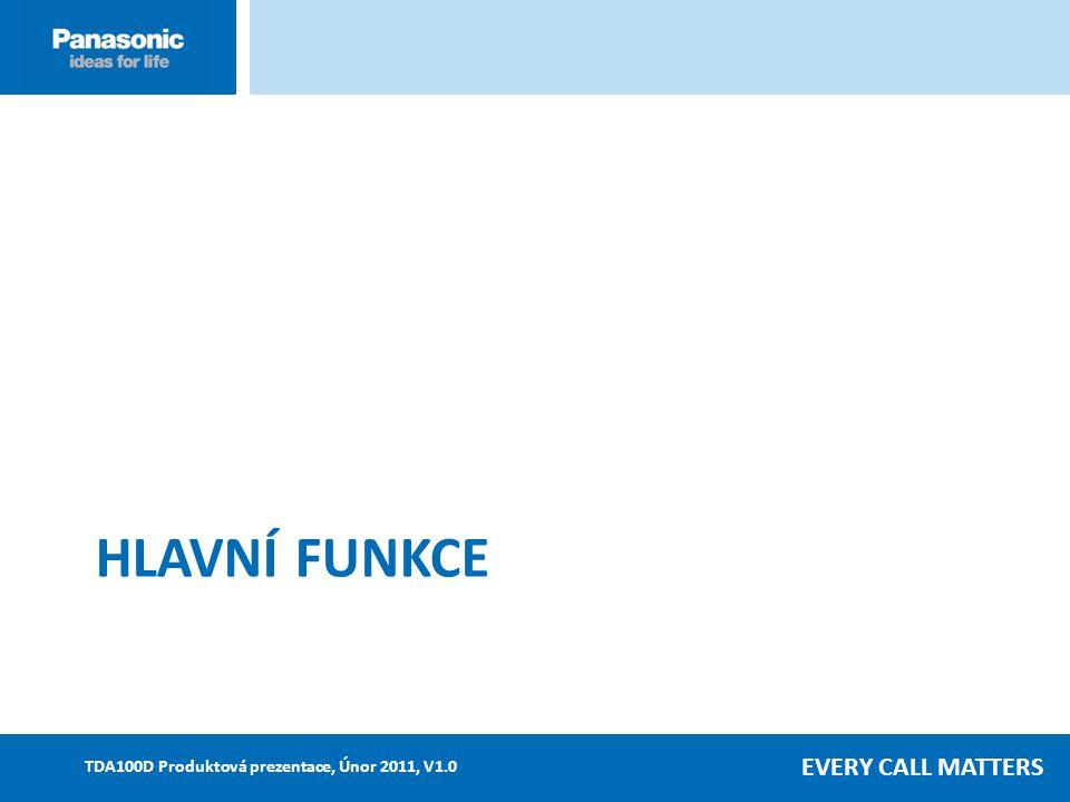 EVERY CALL MATTERS TDA100D Produktová prezentace, Únor 2011, V1.0 HLAVNÍ FUNKCE